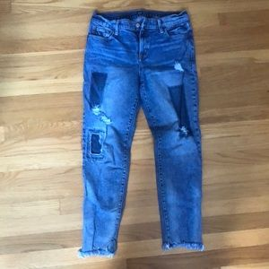 Distressed True Skinny Gap Patched Jeans